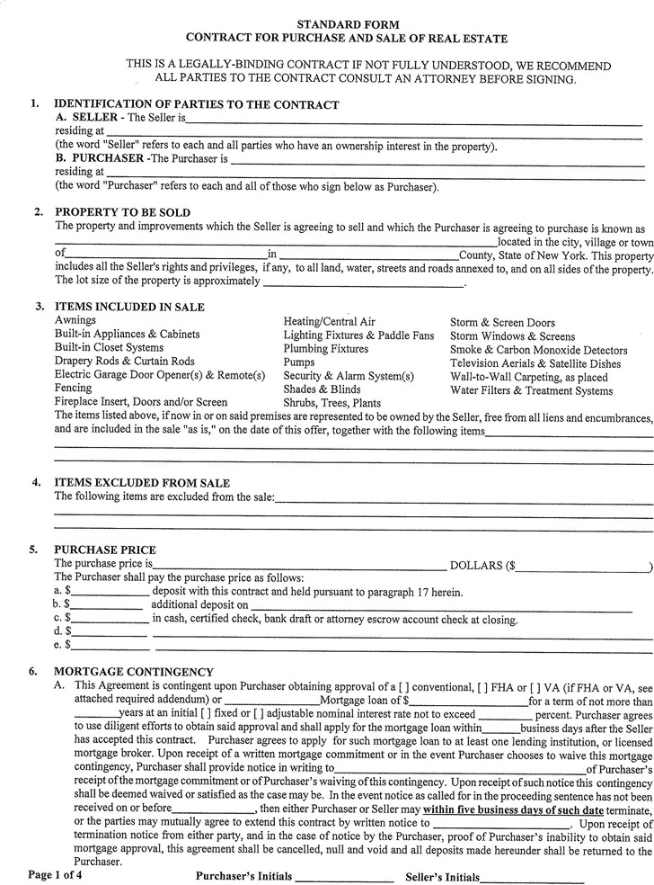 New York Offer To Purchase Real Estate Form