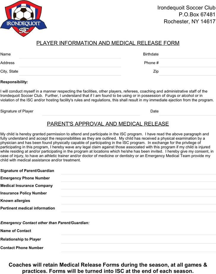 New York Player Information And Medical Release Form