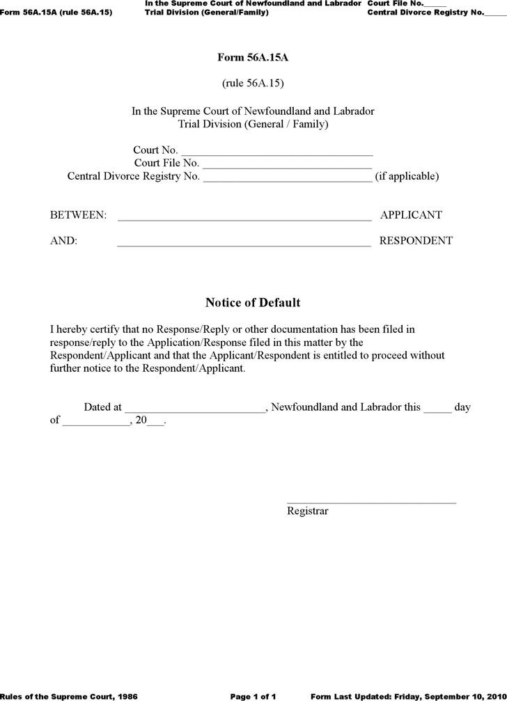Newfoundland and Labrador Notice of Default Form
