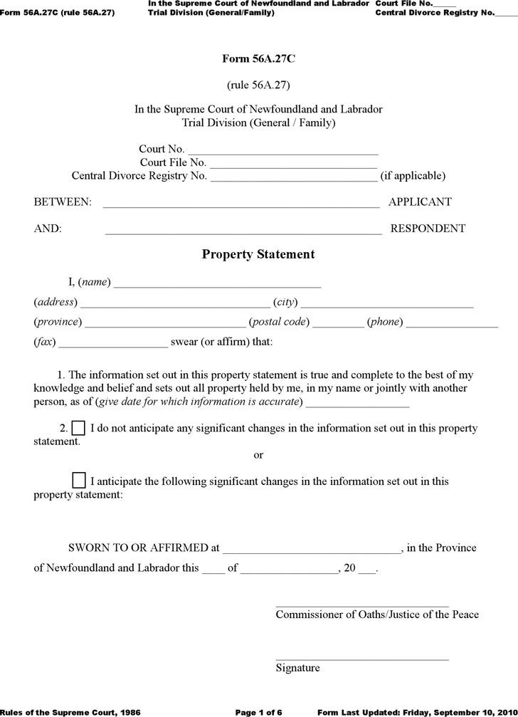 Newfoundland and Labrador Property Statement Form