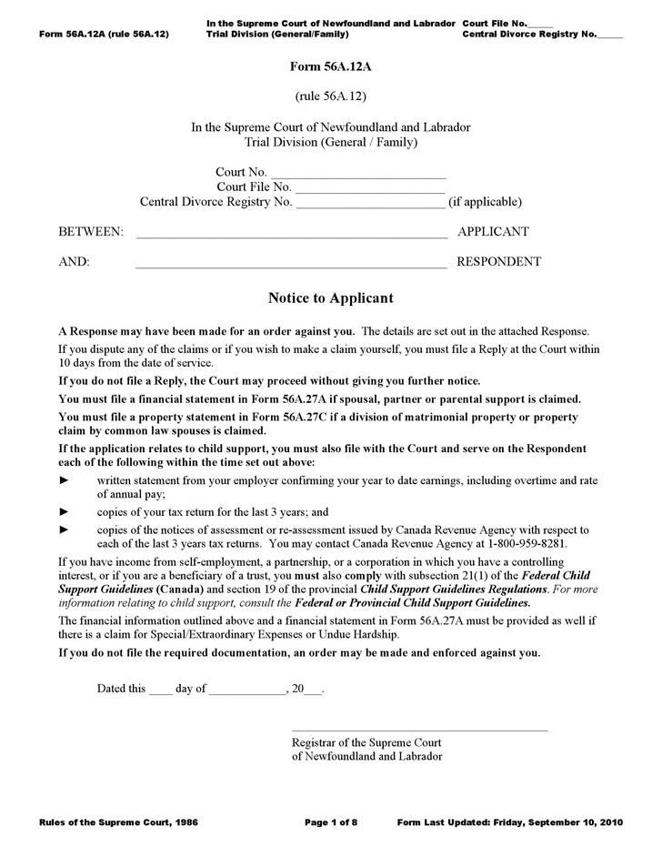 Newfoundland and Labrador Response Form