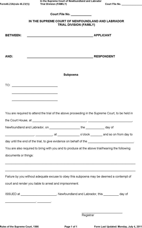 Newfoundland and Labrador Subpoena (Family) Form