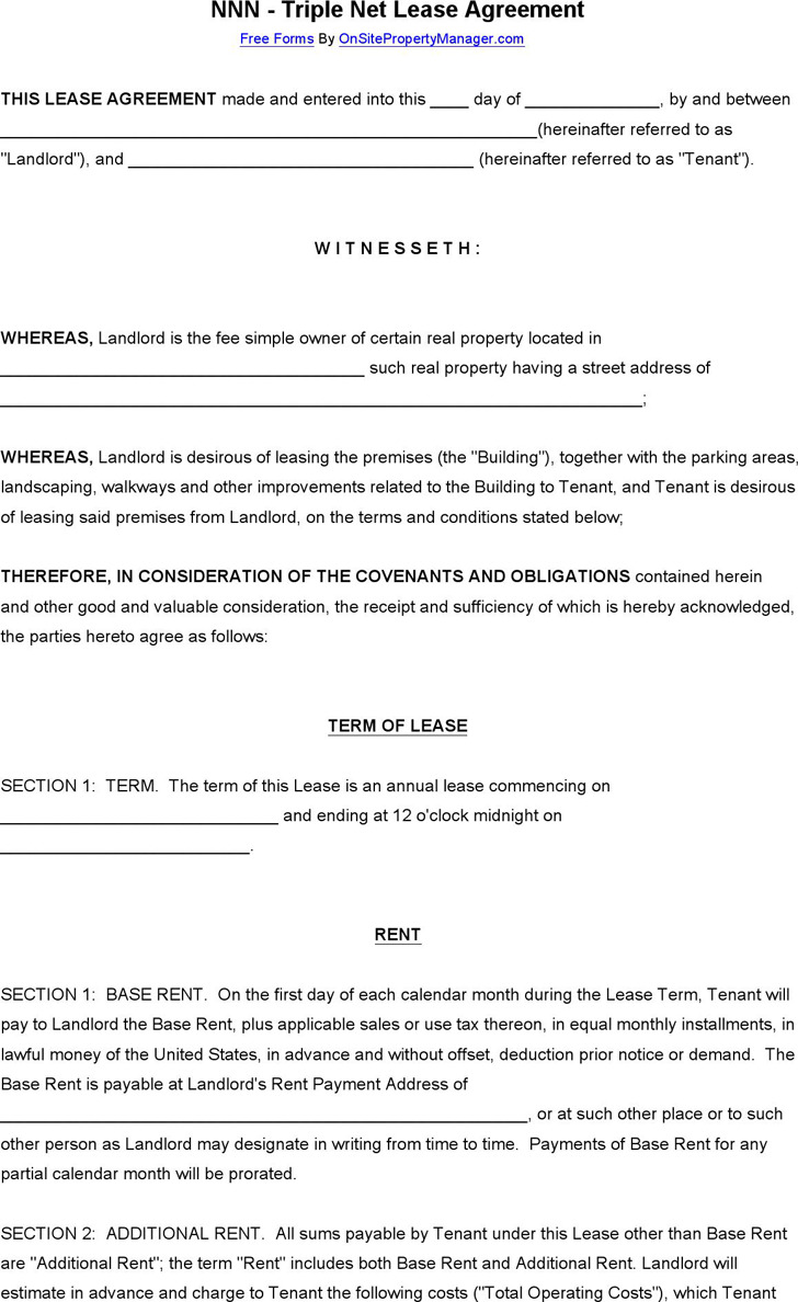 3 Net Lease Agreement Template Free Download