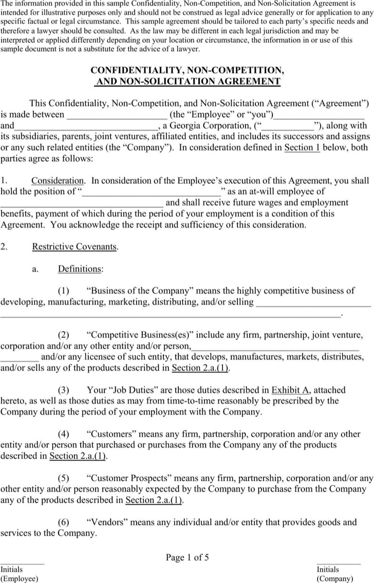Non Compete Agreement Form 1