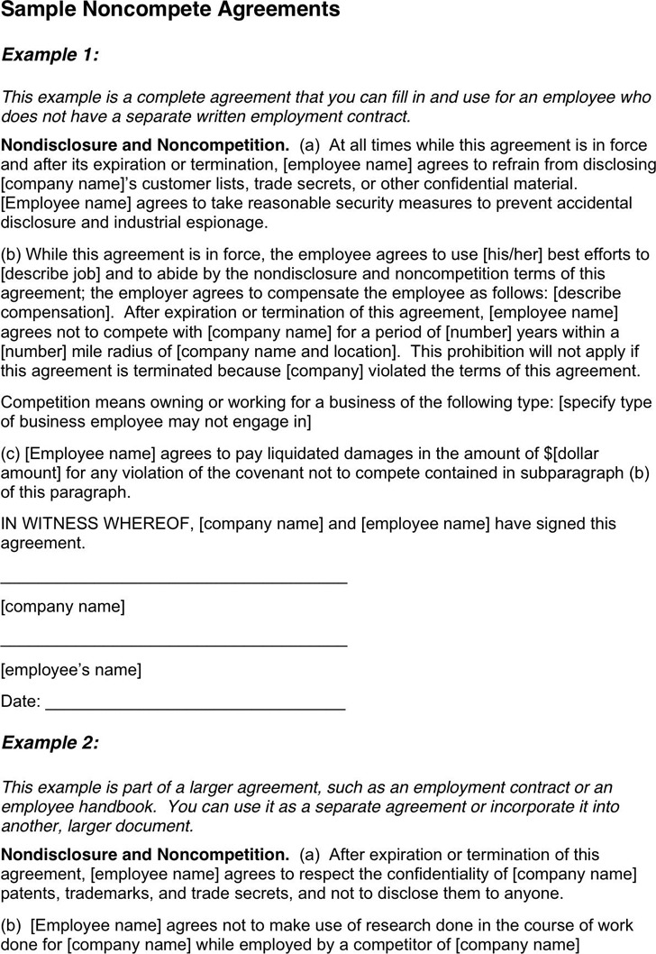 Sample Noncompete Agreements
