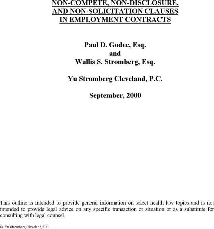 Non Compete Non Disclosure Agreement