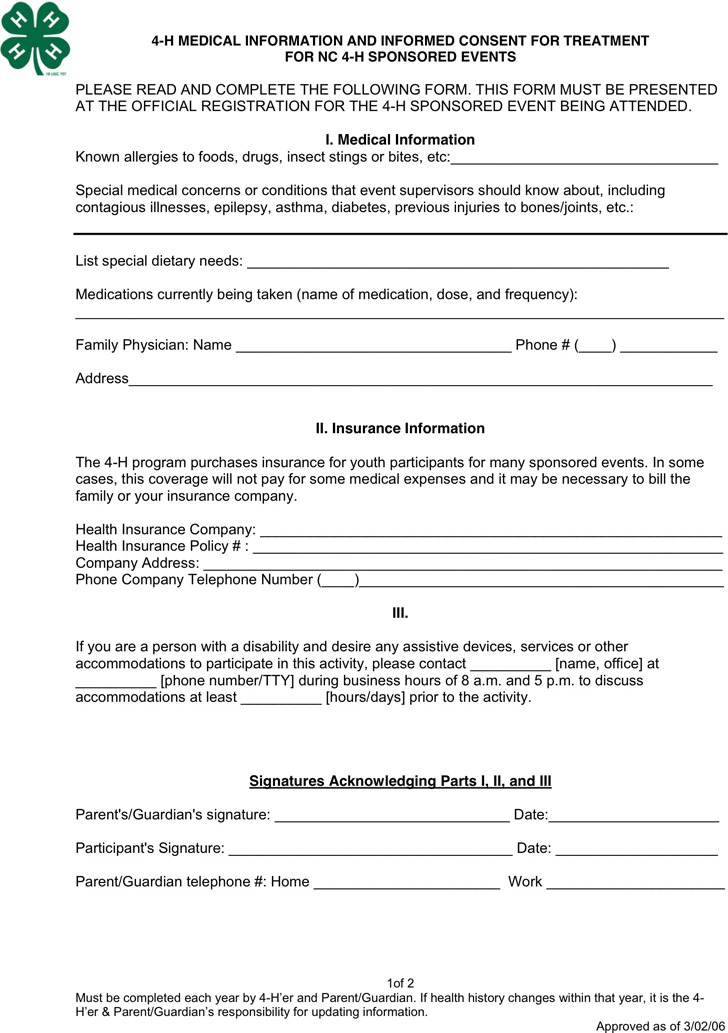 North Carolina 4-H Medical Release Form