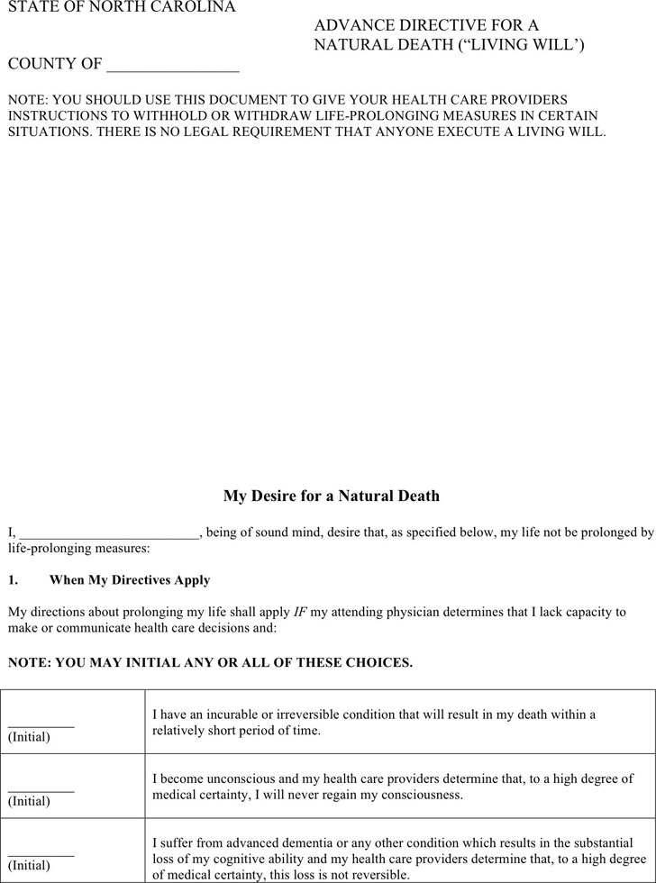 North Carolina Advance Directive For A Natural Death (Living Will)