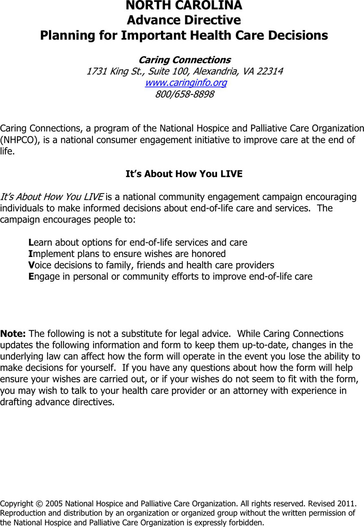 North Carolina Advance Health Care Directive Form