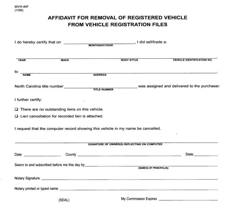 North Carolina Affidavit For Removal of Registered Vehicle From Registration Files