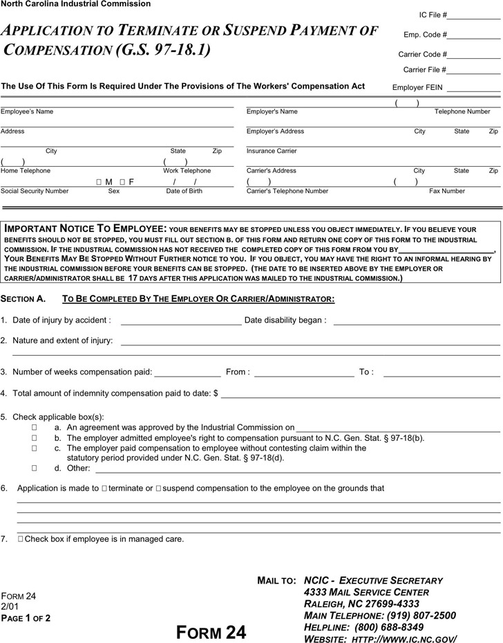 North Carolina Application To Terminate Or Suspend Payment of Compensation