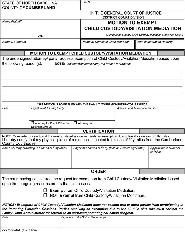 North Carolina Child Custody Form