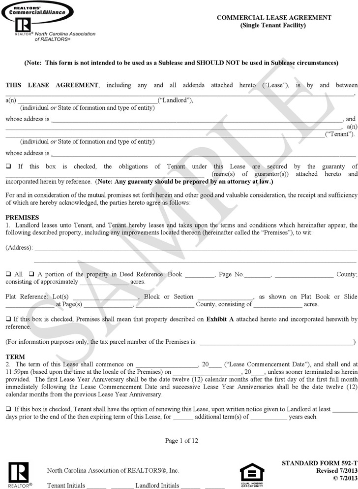 North Carolina Commercial Lease Agreement Sample