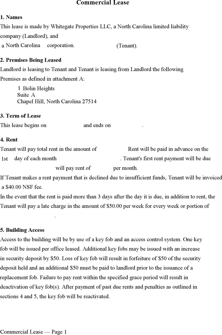 North Carolina Commercial Lease Form