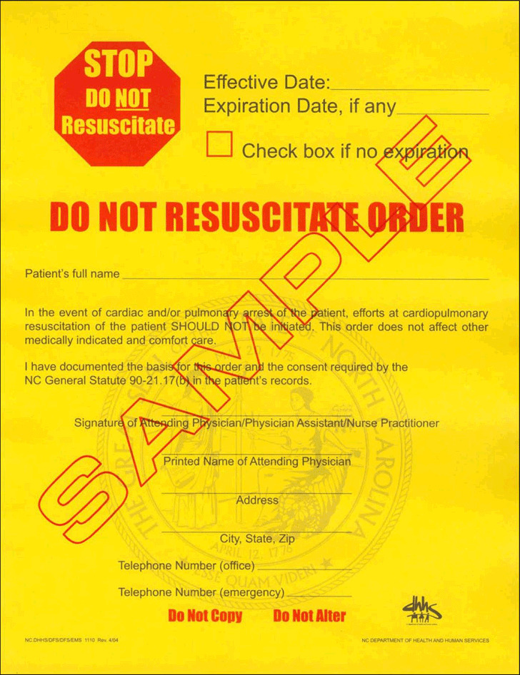 North Carolina Do Not Resuscitate Form | Download Free & Premium