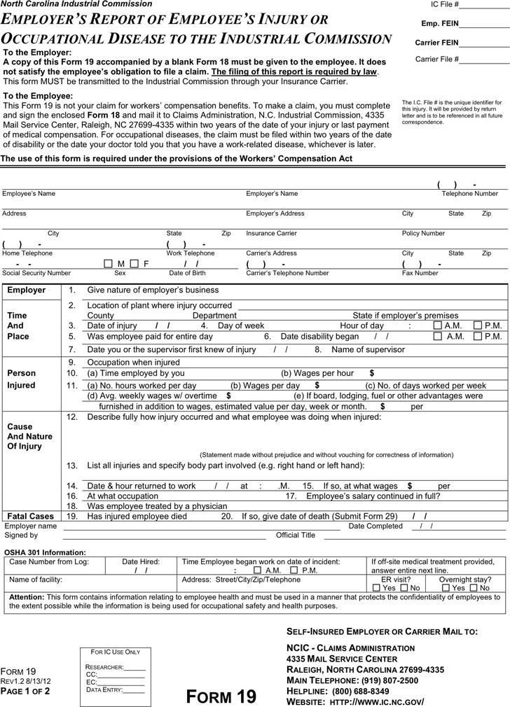 North Carolina Employers Report Of Employees Injury Or Occupational Disease To The Industrial Commission