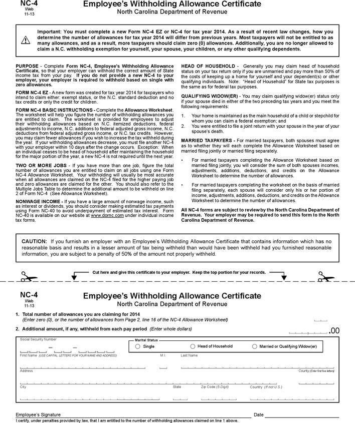 North Carolina Form NC-4