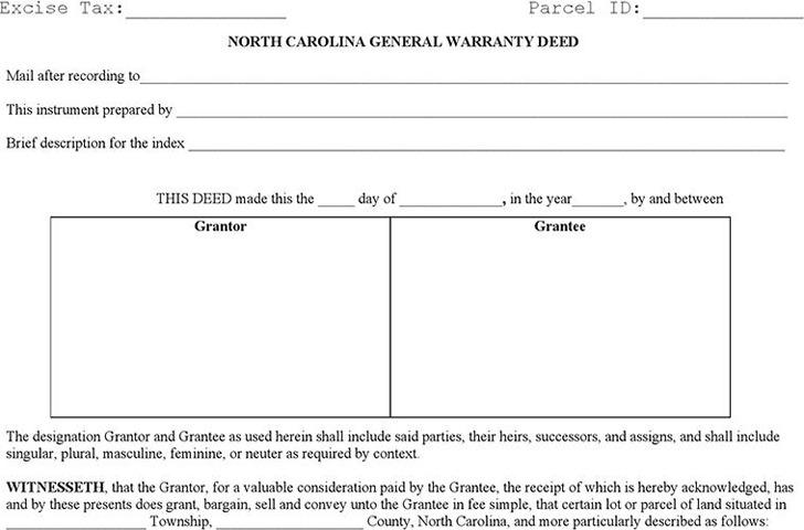 North Carolina General Warranty Deed 1