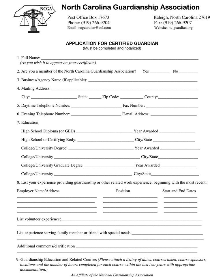 North Carolina Guardianship Form