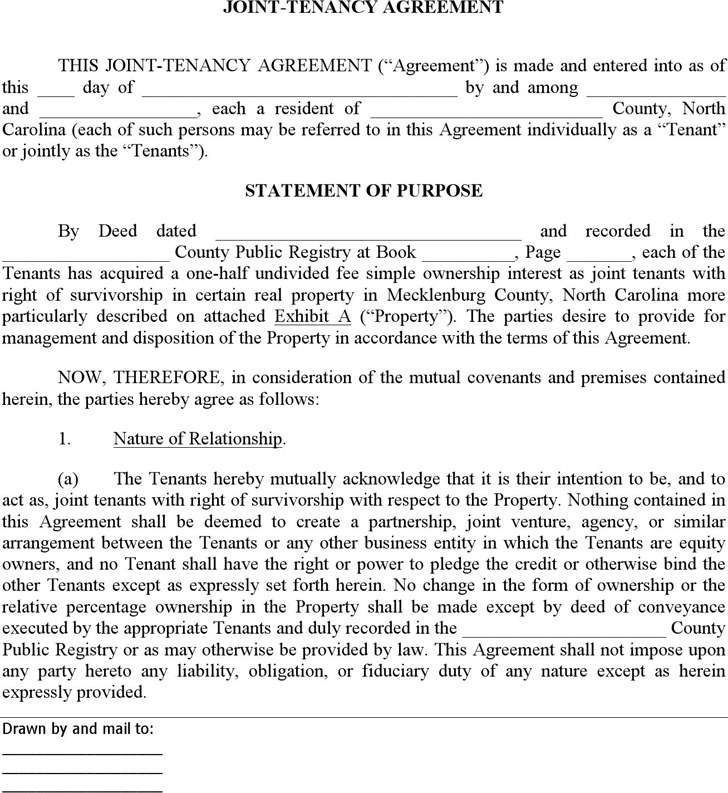 North Carolina Joint Tenant Agreement Form