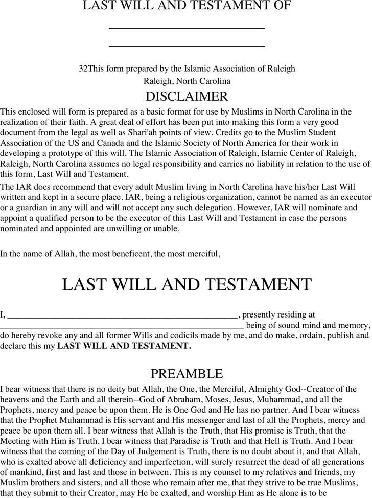 North Carolina Last Will And Testament Form