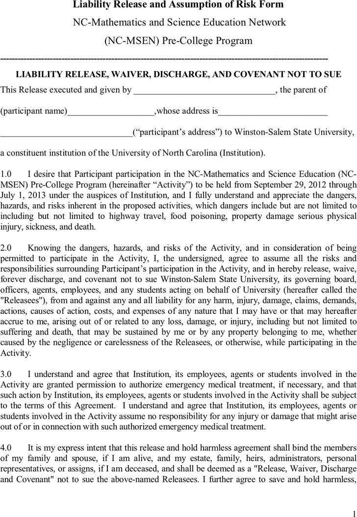 North Carolina Liability Release Form