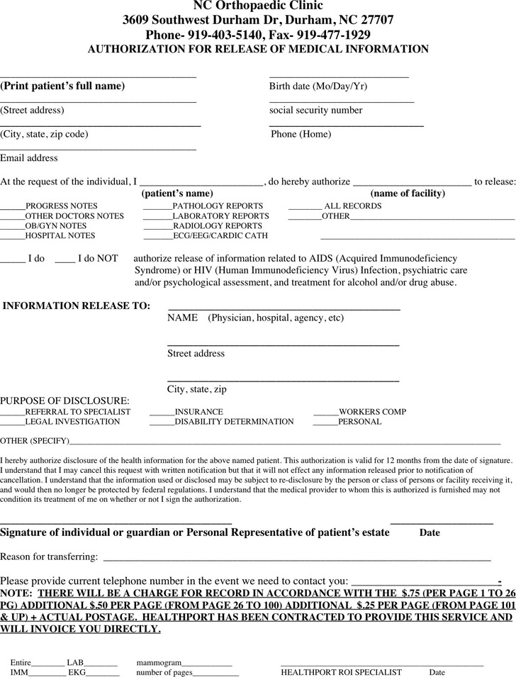 North Carolina Medical Records Release Form 3