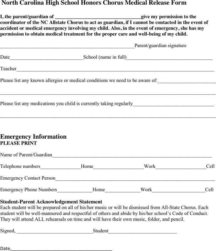North Carolina Medical Release Form 2