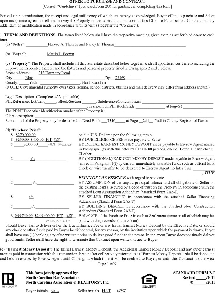 North Carolina Offer To Purchase Real Estate Form | Download Free