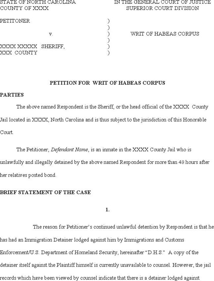 North Carolina Petition for Writ of Habeas Corpus