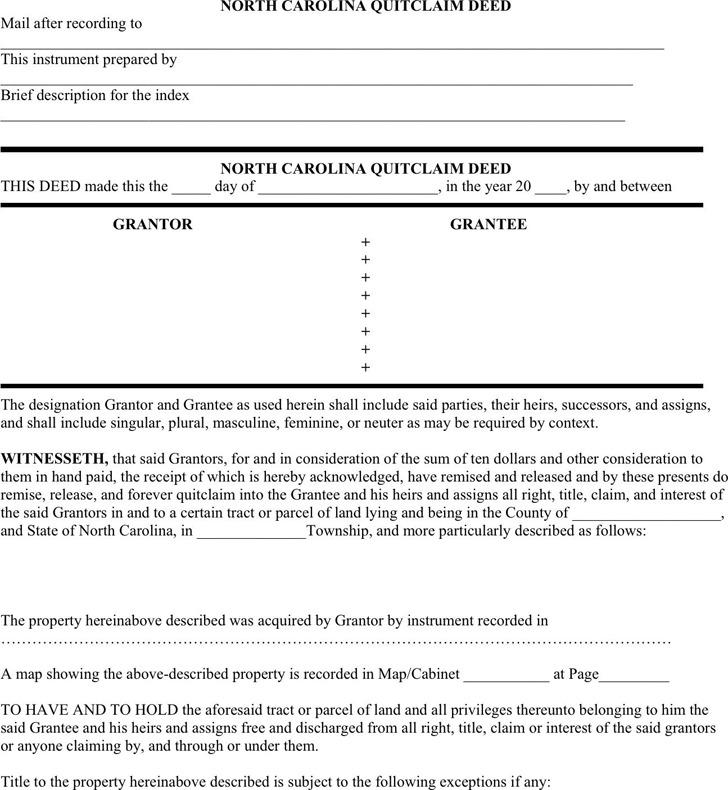 North Carolina Quitclaim Deed Form