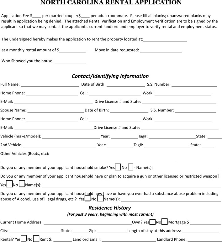 North Carolina Rent And Lease Template