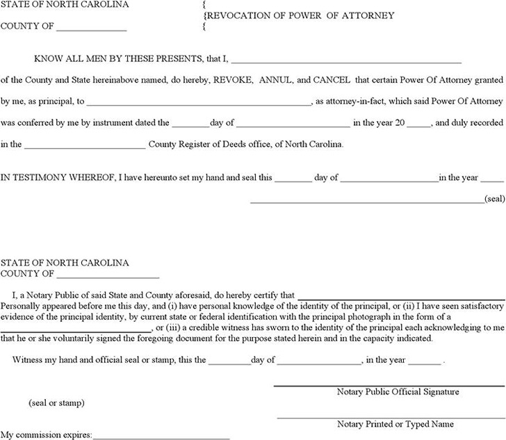 North Carolina Revocation Power of Attorney Form
