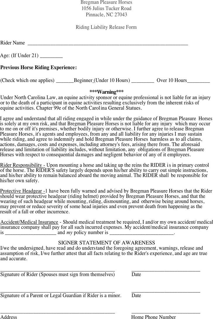 North Carolina Riding Liability Release Form 1