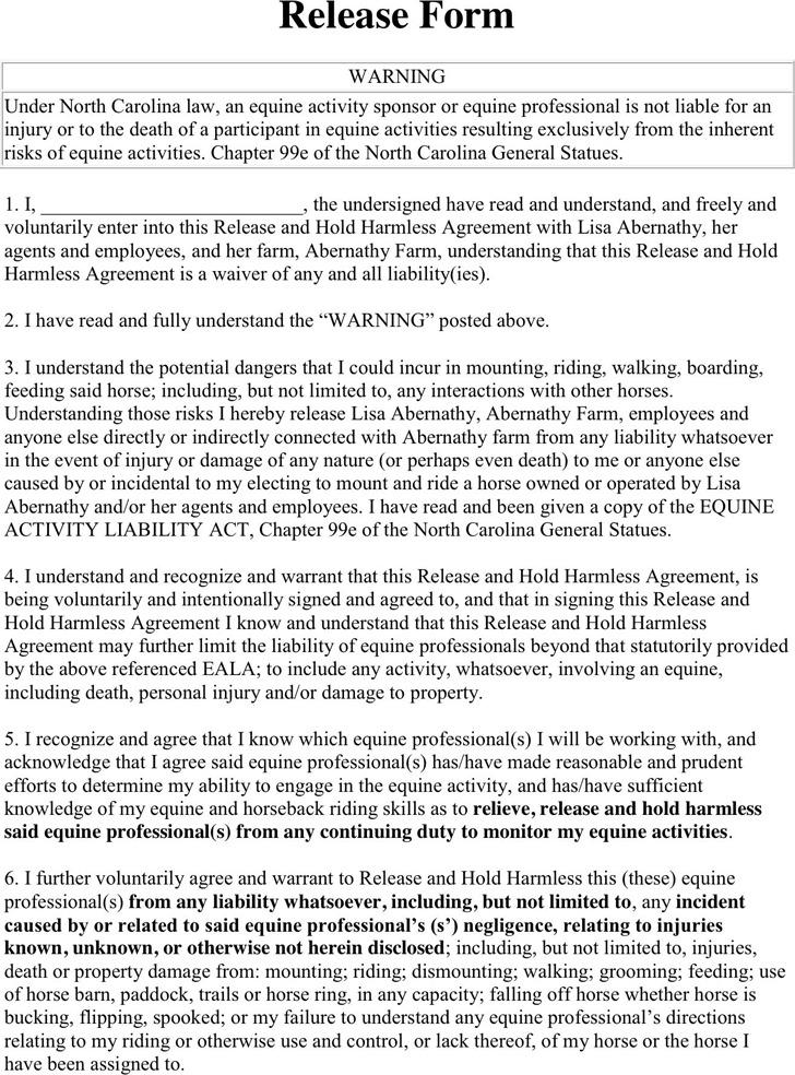 North Carolina Riding Liability Release Form 2
