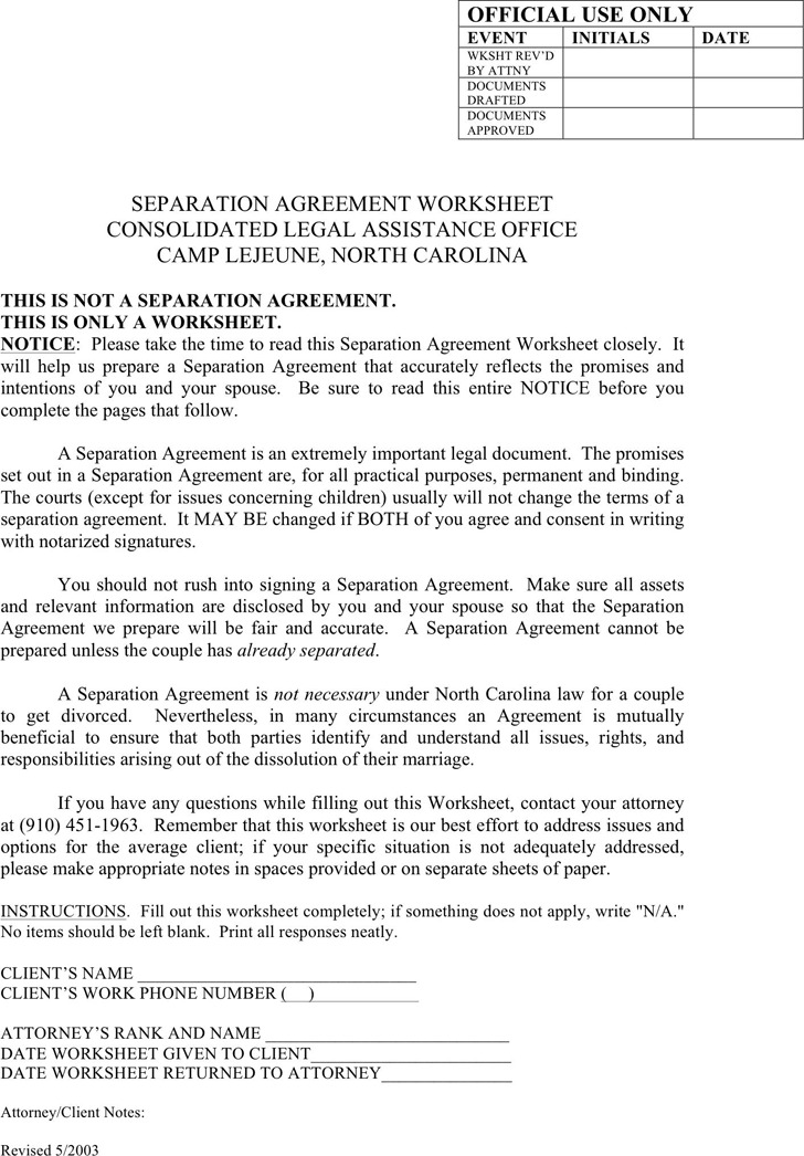 North Carolina Separation Agreement Template