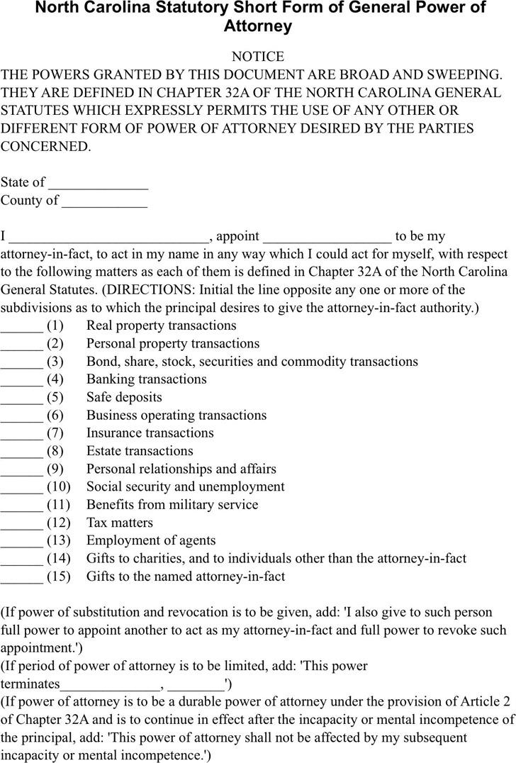 North Carolina Statutory Power of Attorney Form