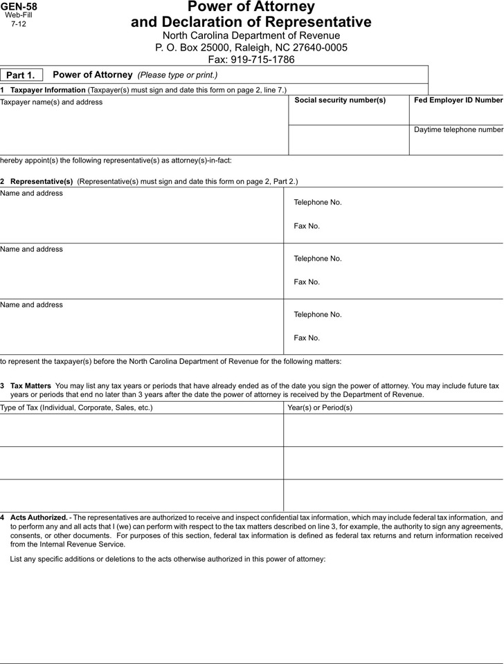 North Carolina Tax Power of Attorney Form