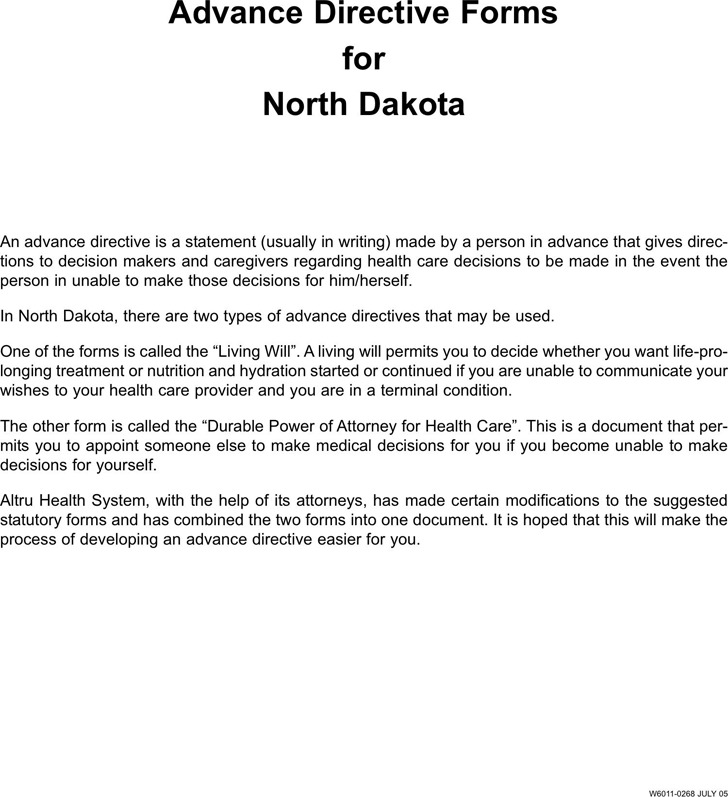 North Dakota Advance Directive Form