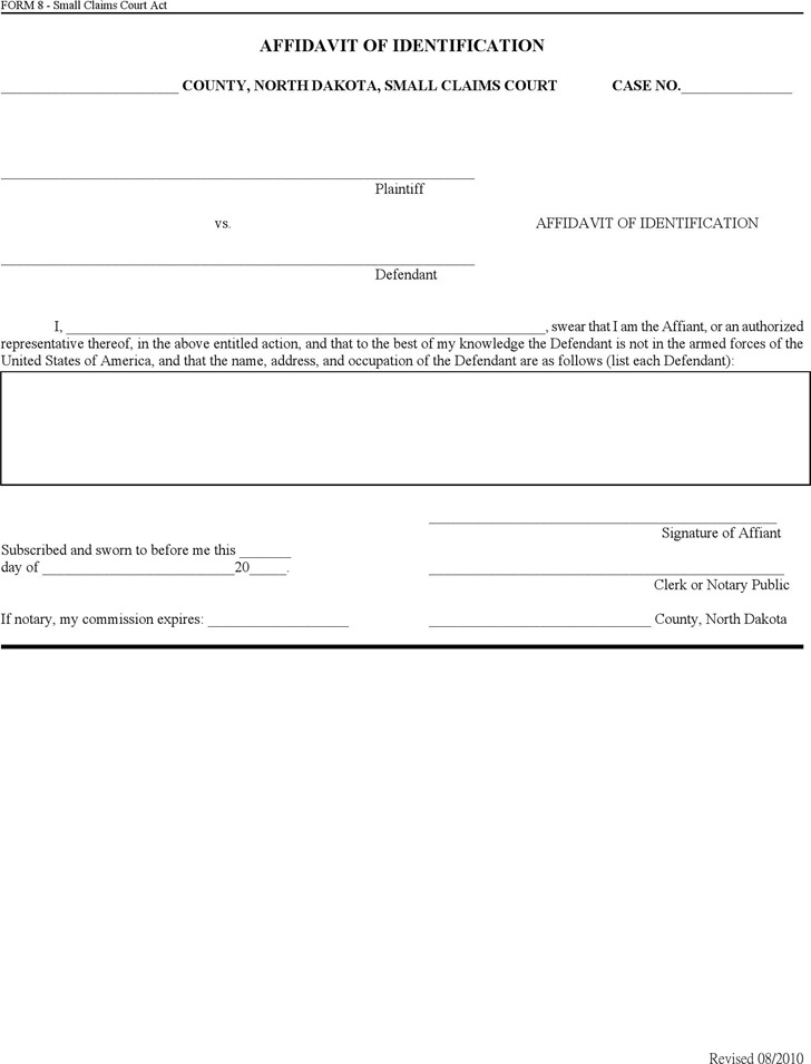 North Dakota Affidavit of Identification Form