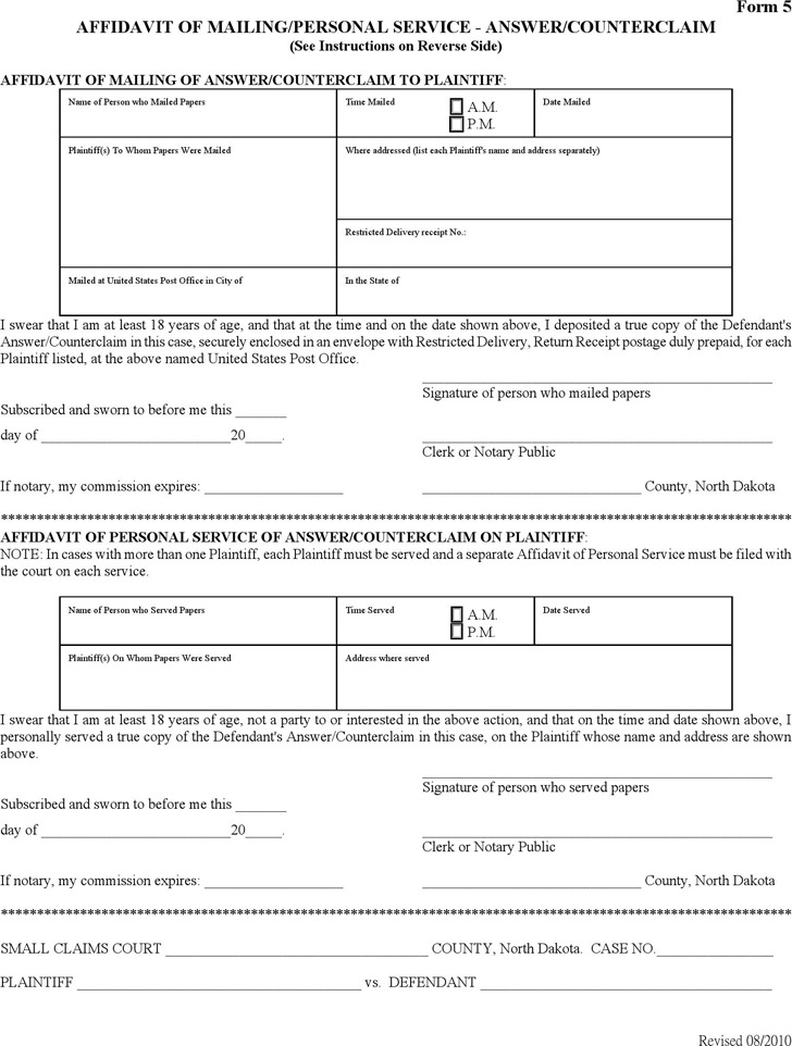 North Dakota Affidavit of Mailing/Personal Service - Answer/Counterclaim Form