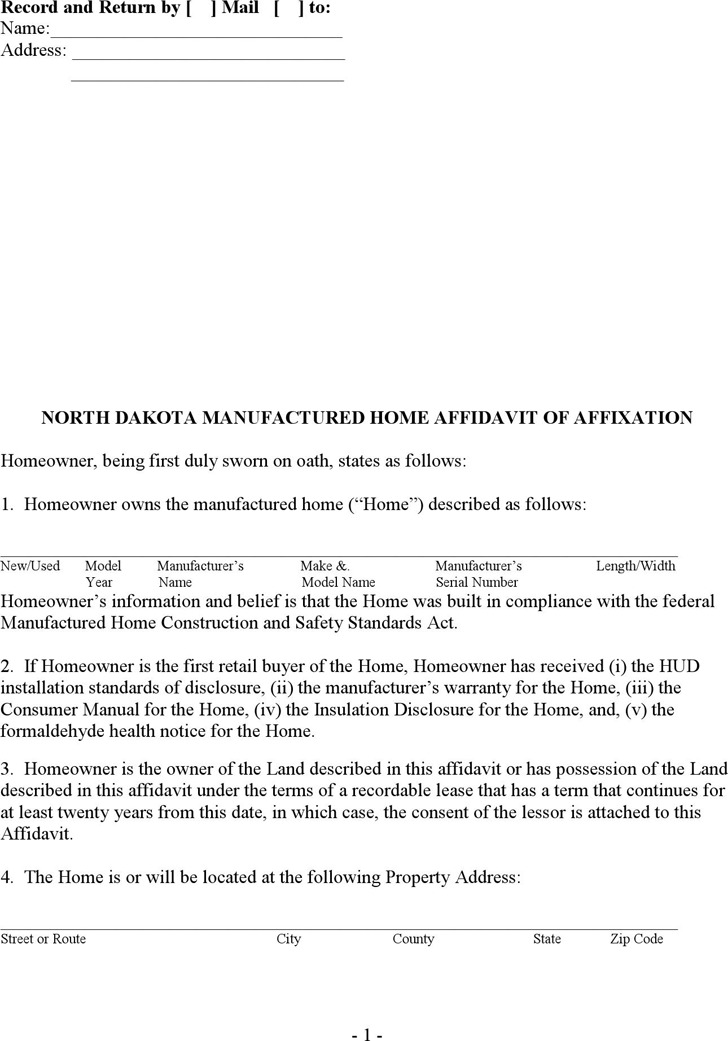 North Dakota Manufactured Home Affidavit of Affixation Form