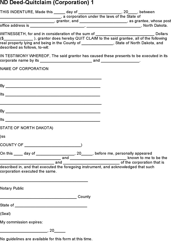North Dakota Quitclaim Deed Form