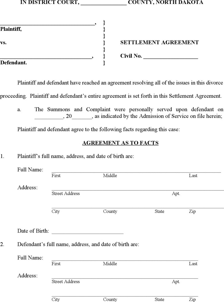 North Dakota Settlement Agreement Form