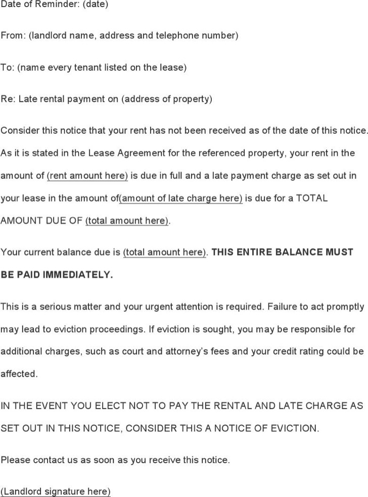 Late Rent Notice Template Blank Late Rent Notice Late Rent Notice