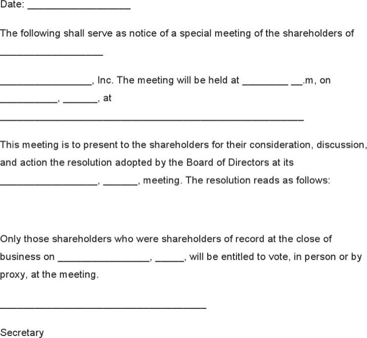 notice of meeting example