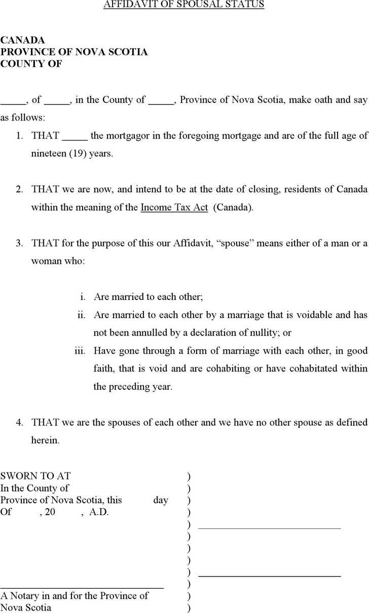 Nova Scotia Affidavit of Spousal Status Form