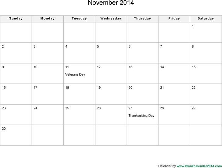 November 2014 Calendar 3