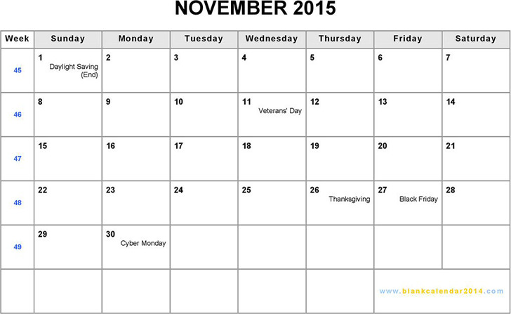 November 2015 Calendar 1