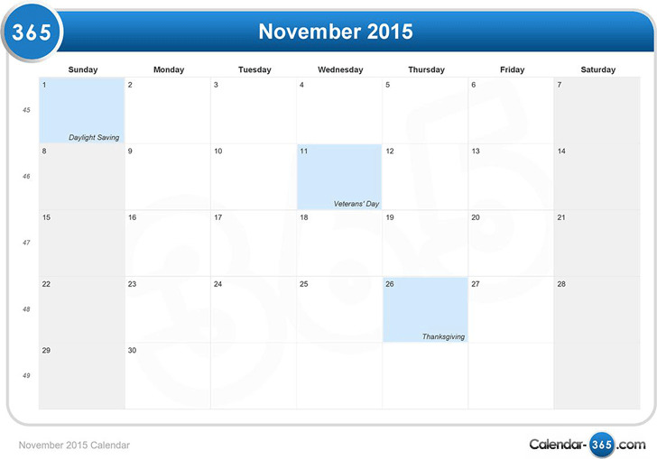 November 2015 Calendar 2